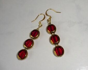 Red Czech Glass Lentil Bead Earrings Handmade