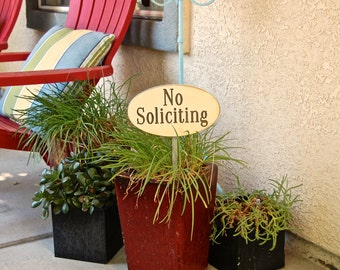 No Soliciting Distressed Wood Cream Garden Sign