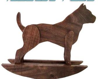 Rocking Pit Bull - Pit Bull - Pit Bulls - Pitbull - Pitbulls - Rocking Horse - Rocking Dog - Dog Sculpture - Wood Pit Bull