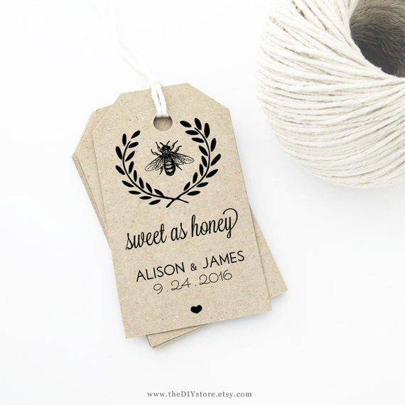 Honey Bee Wedding Favor Tag Template Medium Tag Size Wedding