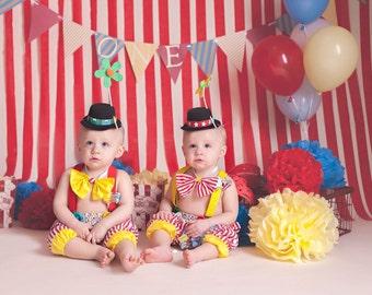 Boys Circus Costume, Boys Clown Outfit, Boy Twinsies, Twins Birthday, Boys Circus Photo Prop, Boys 1st Birthday Cake Smash/MYSWEETCHICKAPEA