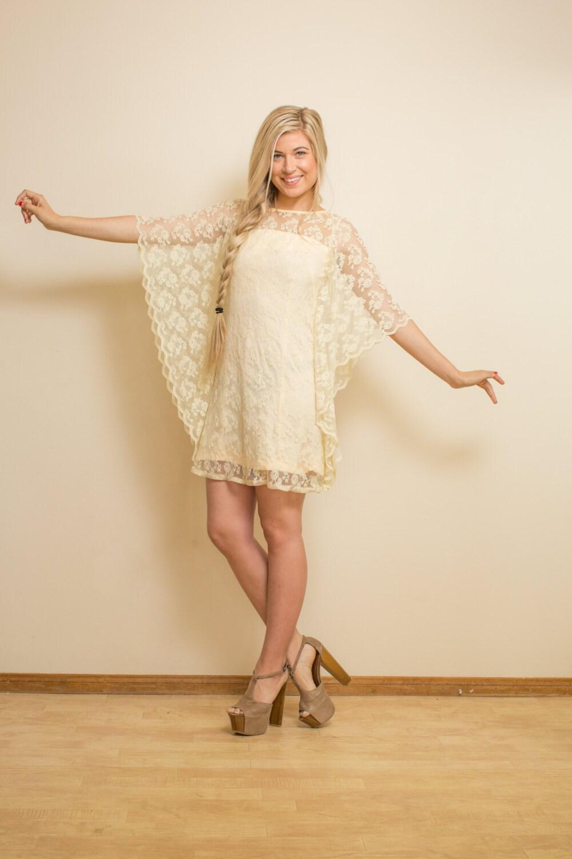 BOHO Wedding Dress Vintage 70s SHORT Lace Cream ALTERNATIVE