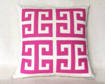 """Hot Pink Greek Key Pillow with Pink Wool Felt Applique on Cotton Canvas, 18"""" square, Simple Modern Decorative Pillow"""