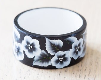 Hand Painted Wooden Bracelet - Black With Floral Pattern