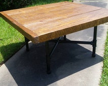 """Industrial Pipe Leg  Coffee Table 2"""" thick Rough Sawn Top"""