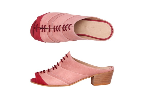 On sale 20% New!  wide slides Pink leather sandals lace up chunky heels handmade ADIKILAV