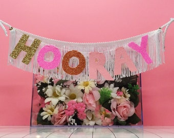Hooray Fringe Banner | glitter party banner, glitter letters, banner wall hanging, birthday banner, wedding banner, tassel banner, cake sign