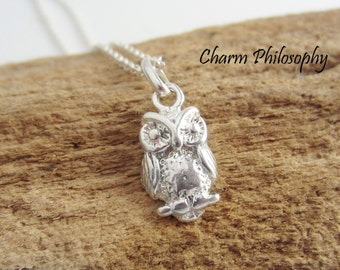 Owl Necklace - 925 Sterling Silver Jewelry - Small Everyday Necklaces - Teacher Gift