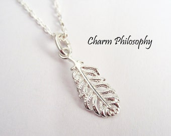 Feather Necklace - 925 Sterling Silver Jewelry - Very Small Feather Charm