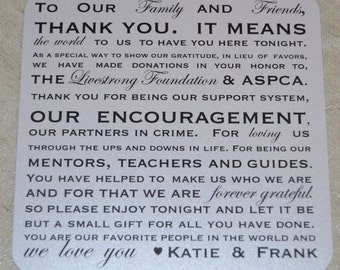 Donation Favor Thank You Wedding Reception Cards PlaceCards Signs {Donation Style 1}