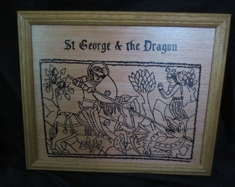 """Medieval Woodcut """"St George and the Dragon"""" Black ink on Wood"""