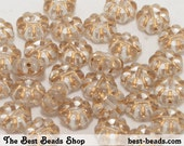 20pcs Clear with Gold Flat Flower Beads 9mm Czech Glass Round Pressed Beads