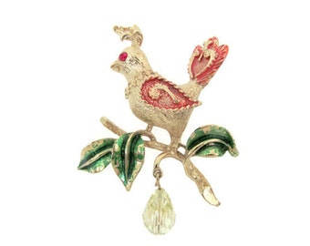 Vintage Christmas Brooch, 1960's Mylu Partridge in a Pear Tree Brooch, Pin, Christmas Partridge, 1960's Christmas, Holiday Jewelry