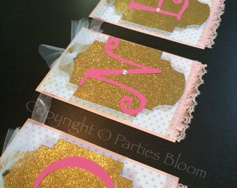 Pink and Gold Shabby Chic Party/Highchair Banner/ Pink and Gold Banner