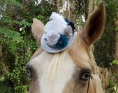 White and Teal Victorian Fascinator / Mini Top Hat for Horse with Feathers and Flowers - Equine Tack Gothic Steampunk