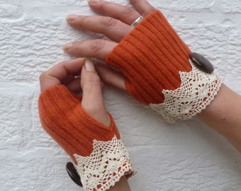 Fingerless gloves boho accessory unique handmade gift eco-friendly lambswool fingerless mittens handwarmer lace ladies victorian style goth.