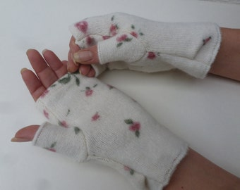 Womens gloves ladies winter accessory boho handmade gift fall winter gloves fingerless handwarmers teens wool mitts floral wedding mittens.