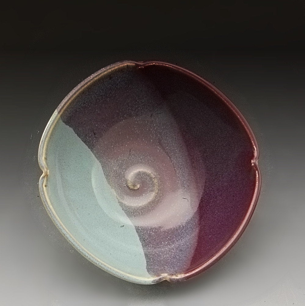 Handmade stoneware pottery purple and turquoise by by for Handmade dinnerware
