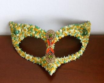 Masquerade Mask, Yellow Roses, Bird Mask, Garden Party - Serpent of Eden