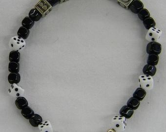 "Sterling Silver 925 Wonderful Unusual Fun ""BUNKO"" Dice Game Bracelet, 7 1/2"" Long #6206"