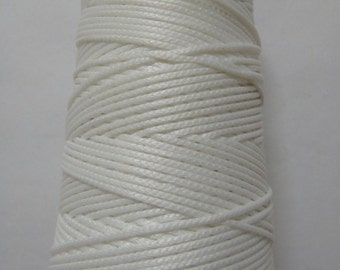 WHITE - Viscose Rayon Cord Dori Thread Yarn - Embroidery Crochet Knitting Lace Jewelry - 70 grams - 170+ Yards - 1.75 mm Thick