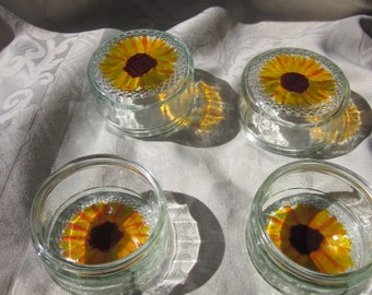 Hand-painted Sunflower Ramekins, set of 4