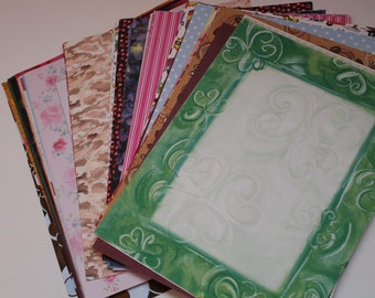 65 Piece Lot of 8.5 x 11 Scrapbook Paper