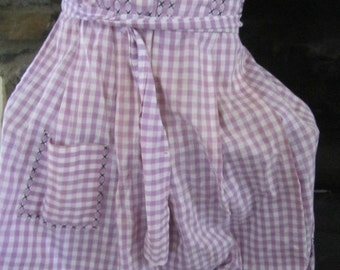 Vintage  1960's Lavendar Gingham Check Half Apron ... Black Stitching ...Long Ties ...Nice Condition