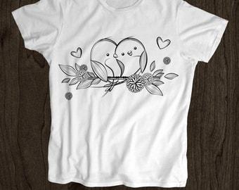 Love Birds T Shirt - Kids T Shirt -Toddler Shirt - Screen Printed -100% Cotton-