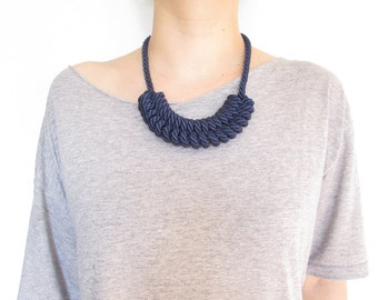 Navy Blue Rope necklace Nautical rope necklace