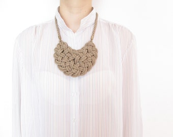 Champagne Rope necklace Rope knot necklace Statement necklace