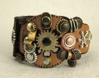 262 Steampunk Burning Man Palimpsest Boho Bracelet Recycled Jewelry Industrial Machine Age