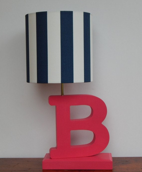 small navy white stripe drum lamp shade. Black Bedroom Furniture Sets. Home Design Ideas