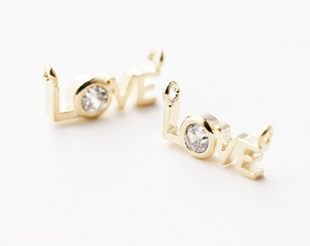 3255011 / Love / 16k Gold Plated Brass with CZ Connector 12.5mm x 5.7mm / 0.4g / 2pcs