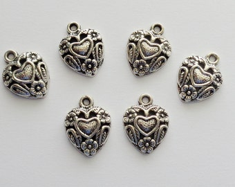 Hearts and Flower Charms set of 6/ #001