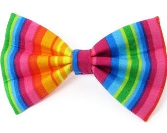 Rainbow stripes dog bow tie & cat bow tie