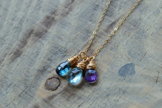Custom Birthstone Necklace with Natural Gemstones