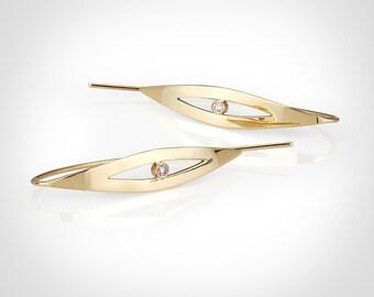 Gold diamond earrings, Diamond earrings, 14k gold earring, Solid gold earrings, Gold dangle earrings, Gold drop earring, Gold earrings.