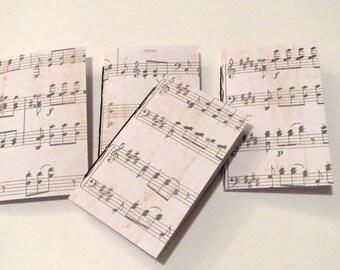 4 Mini Music Notebooks black and white. Writing journal, music themed, mini journals, mini notebook, handmade, blank journal, birthday party
