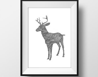 Stag Line and Circle Illustration Print - Ink- Drawing - Art
