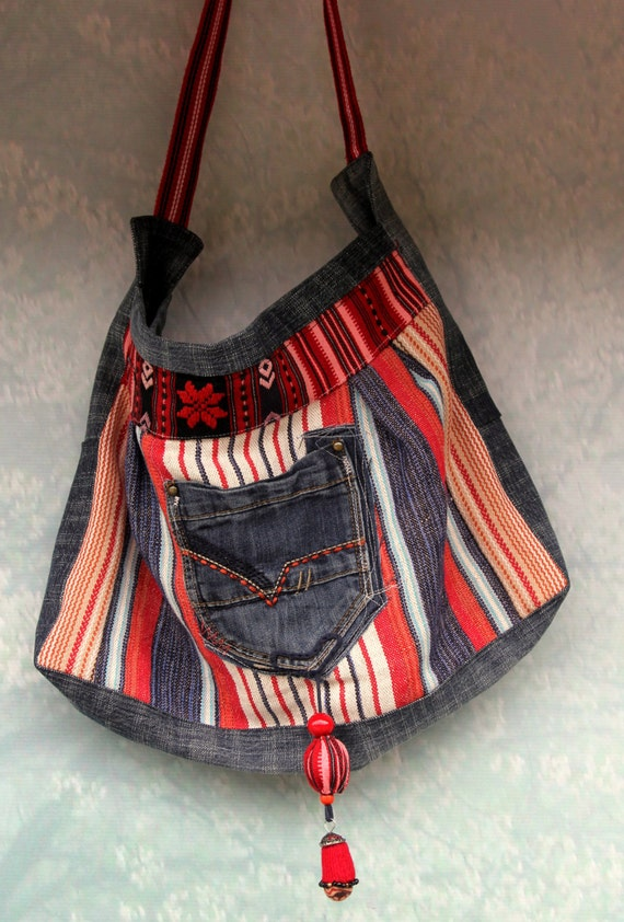 Ethno embroidered denim jeans recycled hip bag with pendant