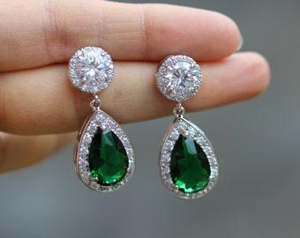 emerald green earrings green bridal earring bridal jewelry wedding earring