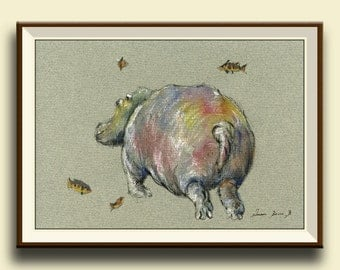 PRINT-Hippo swimming - deep fishes - african animal hippo watercolor -  - Art Print by Juan Bosco
