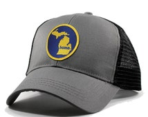 More Colors - Michigan Home Trucker Hat - Blue and Gold Patch