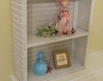White Wicker Cabinet Shelf 1950's Shabby Chic Cottage Home Storage