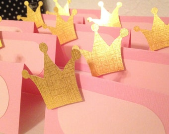 12 Pink and Gold princess party food cards, Gold Crown Food cards, Princess party