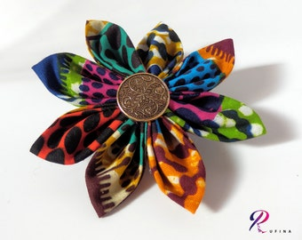 Fabric Flower Brooch, Fabric flower hairpin, Retro brooch, African fabric hairpin, Kanzashi flower