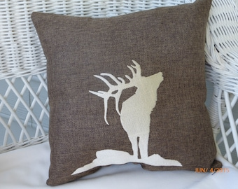 Burlap Accent Pillow - Embroidered Elk pillow -burlap pillow - animal pillow - Pillows - Burlap pillows - wildlife pillow - Fathers Day gift