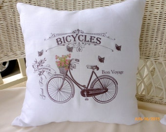 French Bicycle Pillow cover -  Accent pillow - White Linen Pillow Cover  - Vintage Bicycle - French country decor - French Pillow