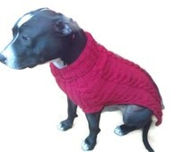 100% Wool,  dog Sweater, Staffordshire Terrier size jumper A very Special Super soft Chunky Knit Large  Dog Sweater